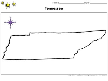 Tennessee Map - Blank - Full Page - Virginia's Bordering State - King Virtue