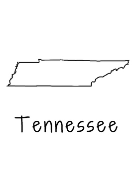 Tennessee Map Coloring Page Craft - Lots of Room for Note-Taking & Creativity