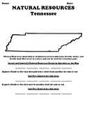 Tennessee  Natural Resources Worksheet & Wordsearch