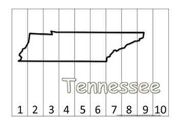 Tennessee Number Sequence Puzzle.  Learn the States preschool printable game.
