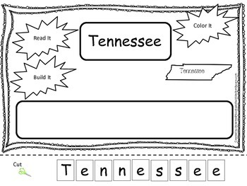 Tennessee Read it, Build it, Color it Learn the States preschool worksheet.