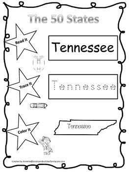 Tennessee Read it, Trace it, Color it Learn the States preschool worksheeet