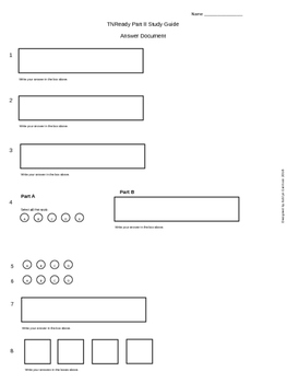 Tennessee Ready Math Practice Test ANSWER DOCUMENT 4th Grade PART 2 TNReady