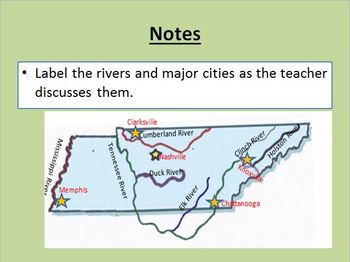 Tennessee Rivers and Cities Powerpoint Graphs, Maps, Game