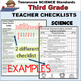 Tennessee Science Standards for 3rd Grade / Teacher Checklist Packet