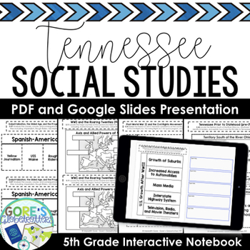 Tennessee Social Studies 5th Grade Interactive Notebook and Sample Pages