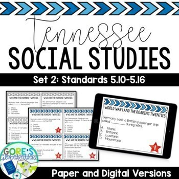 Tennessee Social Studies 5th Grade Task Cards Set 2