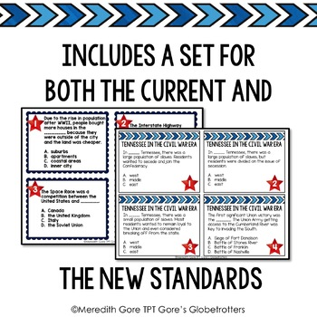 Tennessee Social Studies 5th Grade Task Cards Set 5 - Current and NEW Standards
