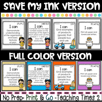 "Tennessee Standards 2017-2018 ELA-MATH-SCIENCE "" I Can"" Posters- FIRST GRADE"