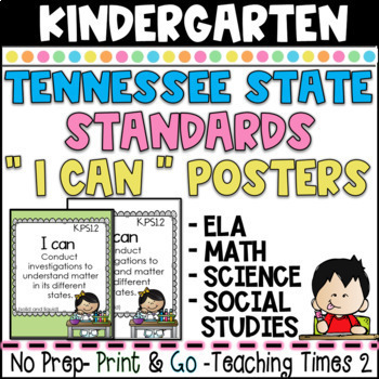 "Tennessee Standards 2017-2018  ELA-MATH-SCIENCE "" I Can"" Posters -KINDERGARTEN"