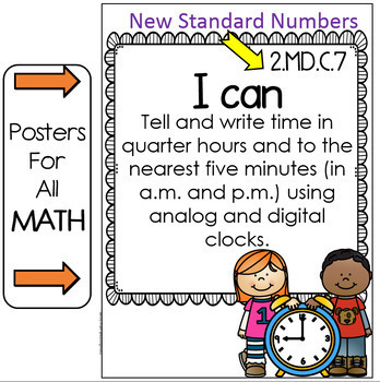 "Tennessee Standards 2017-2018 ELA and MATH "" I Can"" Posters- SECOND GRADE"