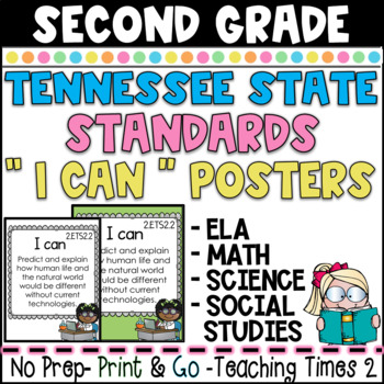 "Tennessee Standards  ELA / MATH/ SCIENCE "" I Can"" Posters- SECOND GRADE"