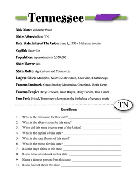Tennessee State Information & Worksheet