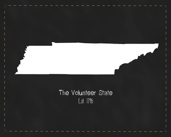 Tennessee State Map Class Decor, Government, Geography, Black and White Design