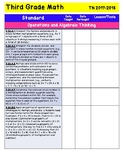 Tennessee State Math and ELA Standards Checklist for 3rd Grade