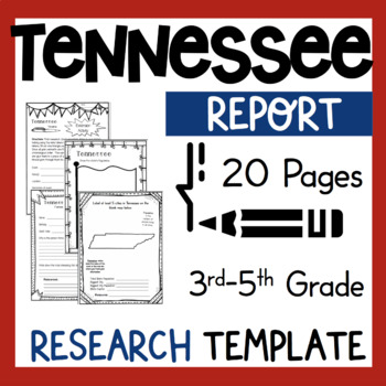 Tennessee State Research Report Project Template + bonus timeline craftivity TN