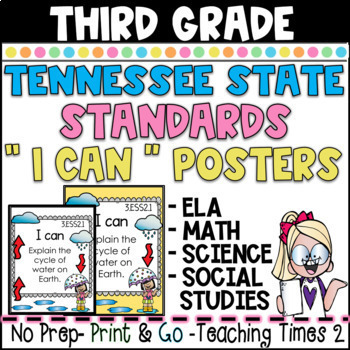 "Tennessee Standards 2017-2018 Grade 3 ELA / MATH/SCIENCE   "" I CAN"" Posters"