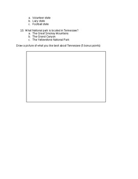Tennessee State Test or quiz