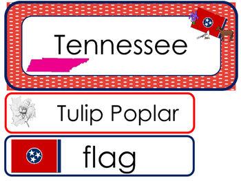 Tennessee State Word Wall Bulletin Board Set. Geography Curriculum.