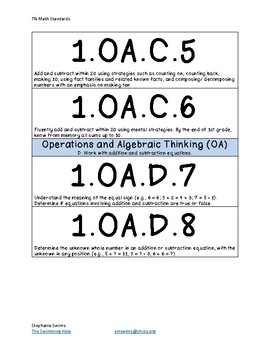 Tennessee (TN) Math Standard Cards