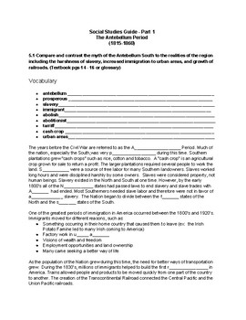 Tennessee Through Time Civil War - The Antebellum Period Study Guide/Test
