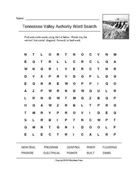 Tennessee Valley Authority Word Search (Grades 4-5)