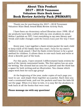 Tennessee Volunteer Book Award 2017 - 2018 Book Review Activity Pack NO PREP