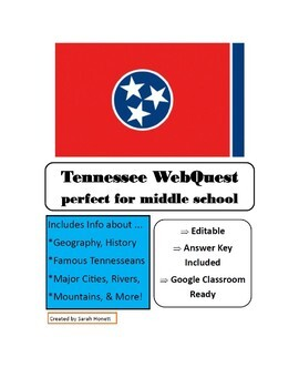 Tennessee WebQuest / Web Activity - Geography focus - UPDATED links