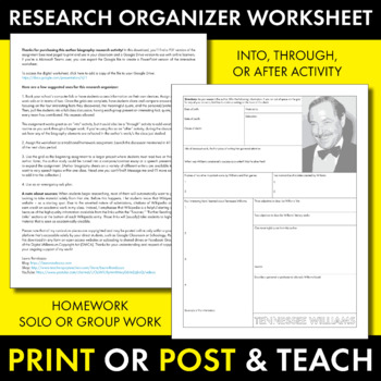 Tennessee Williams Author Study Worksheet, Easy Biography Activity, CCSS