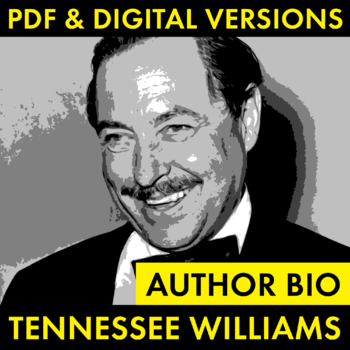 Tennessee Williams Author Study Worksheet, Easy Biography