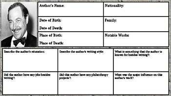 Tennessee Williams Biography Assignment/ Graphic Organizer