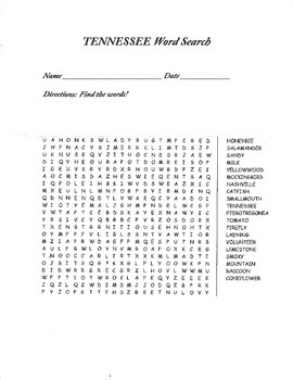 Tennessee Word Search