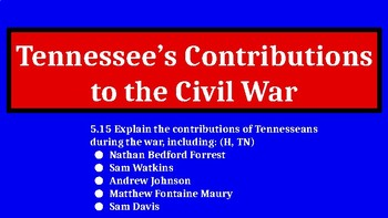 Tennessee's Contributions to the Civil War