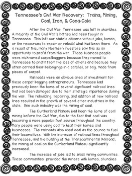 Tennessee's Recovery after the Civil War Non Fiction Passage & Lesson
