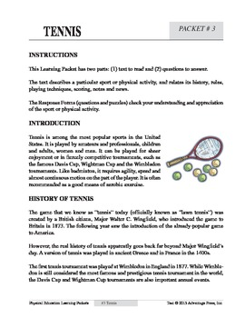 Tennis: An Academic Learning Packet