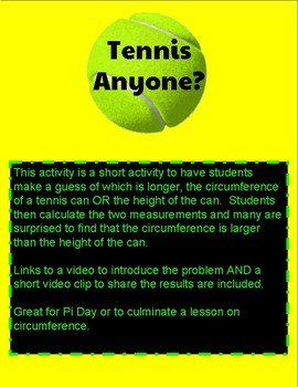 Tennis Anyone?  Pi Day Circumference Exporation