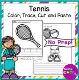 Tennis Coloring Trace then Write Worksheets