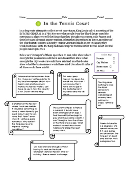 Tennis Court Oath Perspectives Worksheet