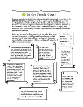 Tennis Court Oath Perspectives Worksheet
