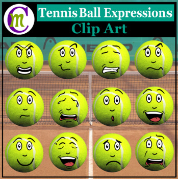 Tennis Expressions Clipart | Sports Ball Emotions Clip Art