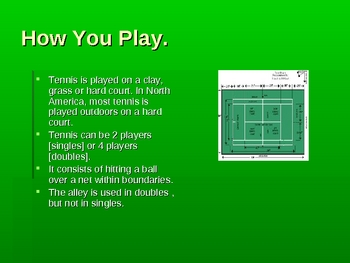 Tennis, Learning About the Sport