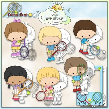 Tennis Players 1 - Commercial Use Clip Art & Black & White Images