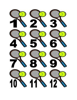 Tennis Racket and Ball Numbers for Calendar or Math Activity