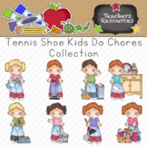 Tennis Shoe Kids Do Chores Clipart Collection