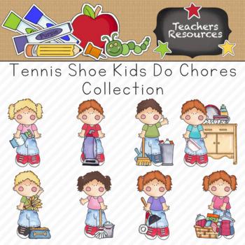 Tennis Shoe Kids Do Chores Clipart Collection