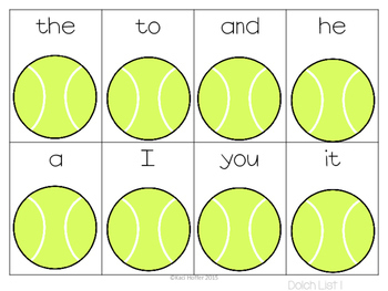 Tennis Sight Word Games