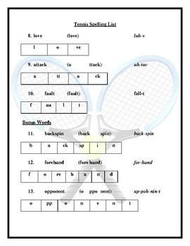 Tennis Spelling List