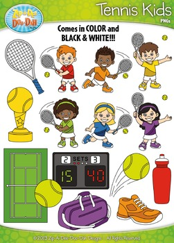 Tennis Sports Kid Characters Clipart {Zip-A-Dee-Doo-Dah Designs}