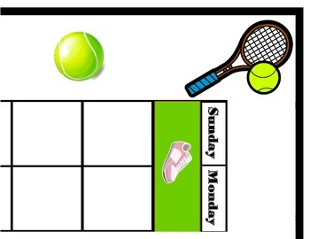 Tennis Calendar! Tennis Bulletin Board! Tennis Theme Class