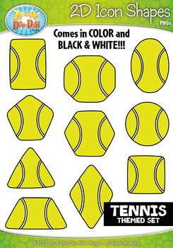 Tennis Themed 2D Icon Shapes Clipart Set — Includes 20 Graphics!